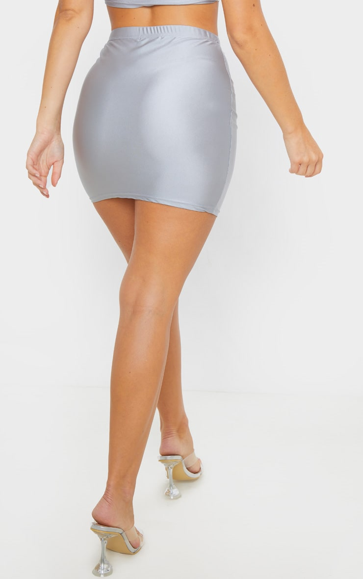 Silver Disco Seam Front Mini Skirt 4