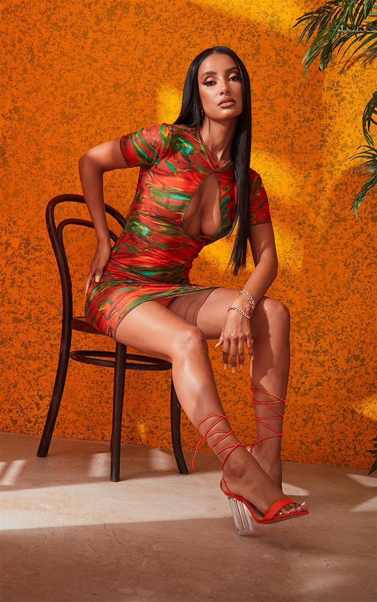 Orange Marble Print Sheer Mesh Keyhole Detail Short Sleeve Mini Dress 4