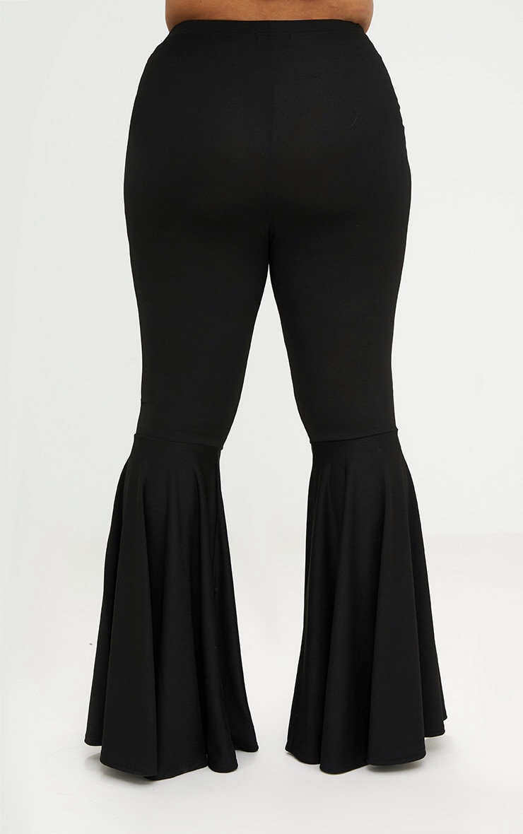 Plus Black Fit and Flare Leg Trousers 2