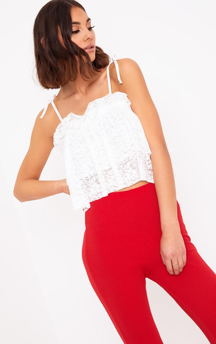 White Lace Frill Cami Top  1