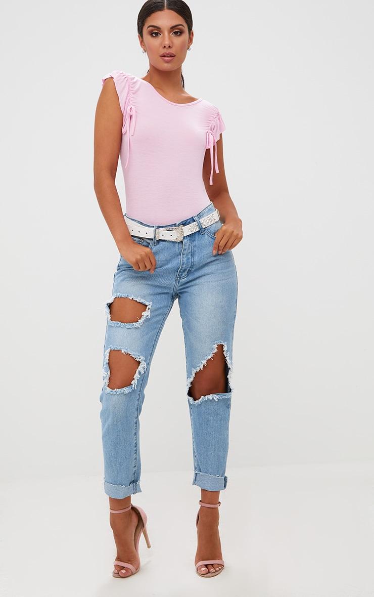 Pink Jersey Frill Drawstring Shoulder Thong Bodysuit 5