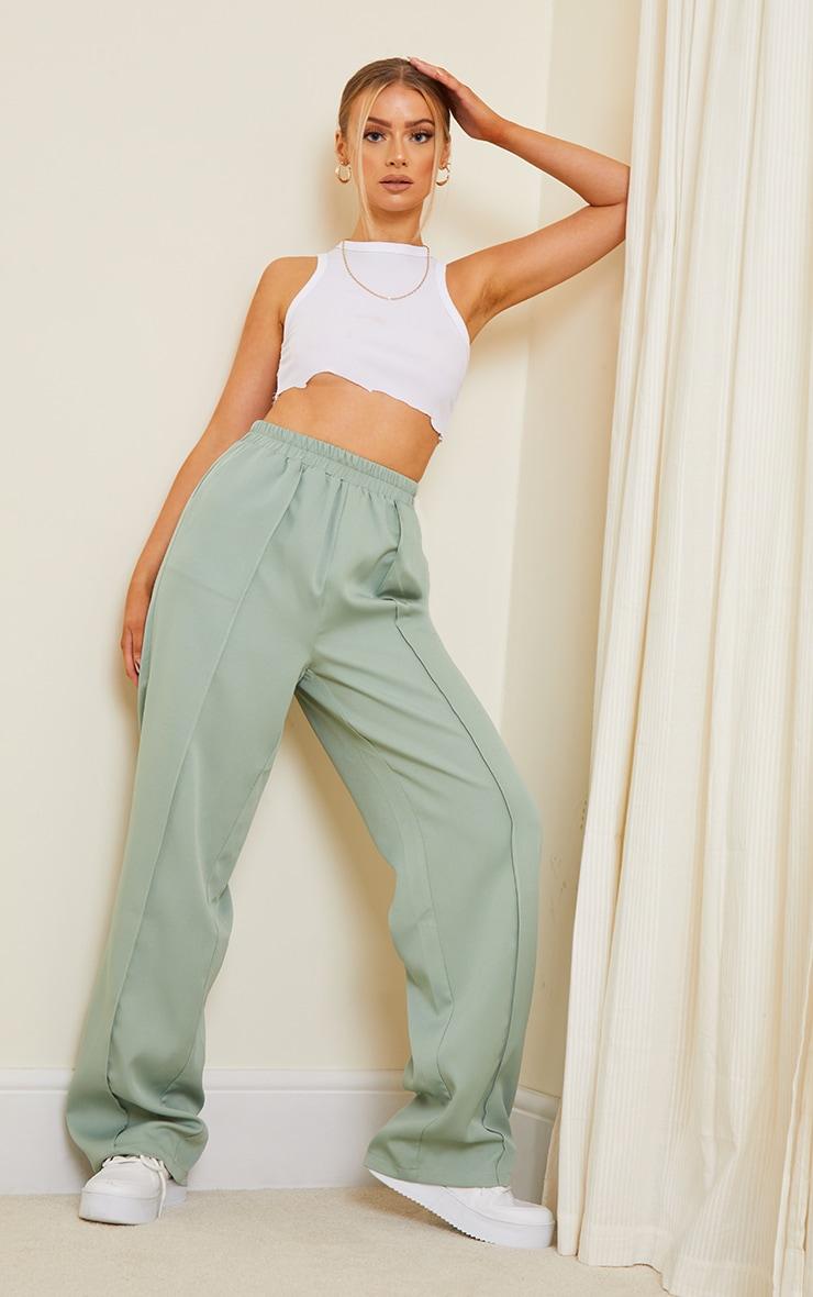 Sage Green Woven Pintuck Straight Leg Pants
