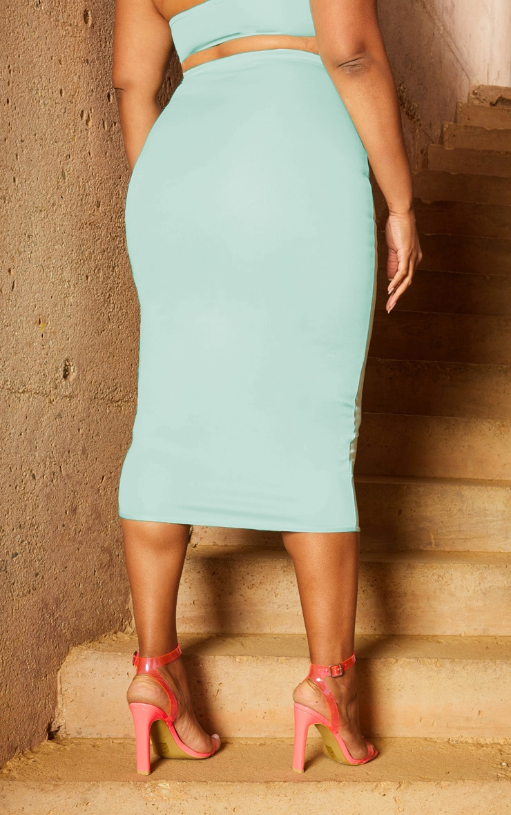 Plus Aqua Second Skin Binding Detail Midi Skirt 4