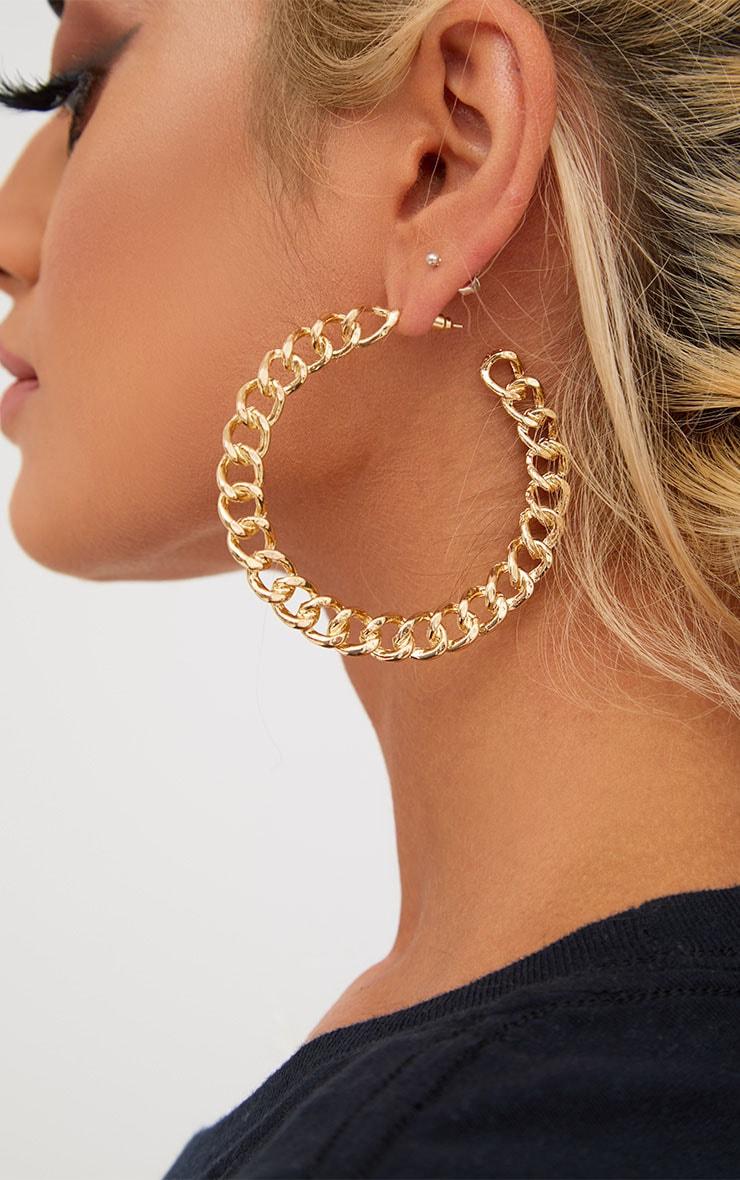 Gold Chain Hoop Earrings 4