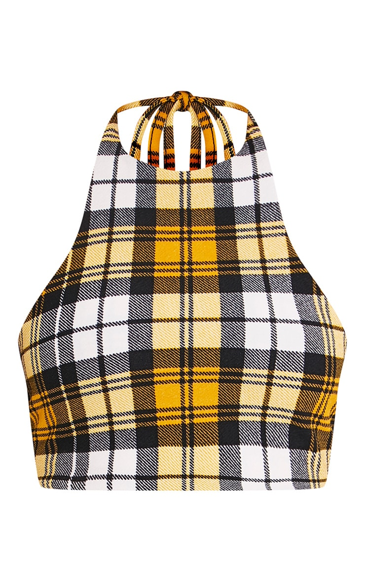 Rosa Yellow Check Print Halterneck Crop Top  3