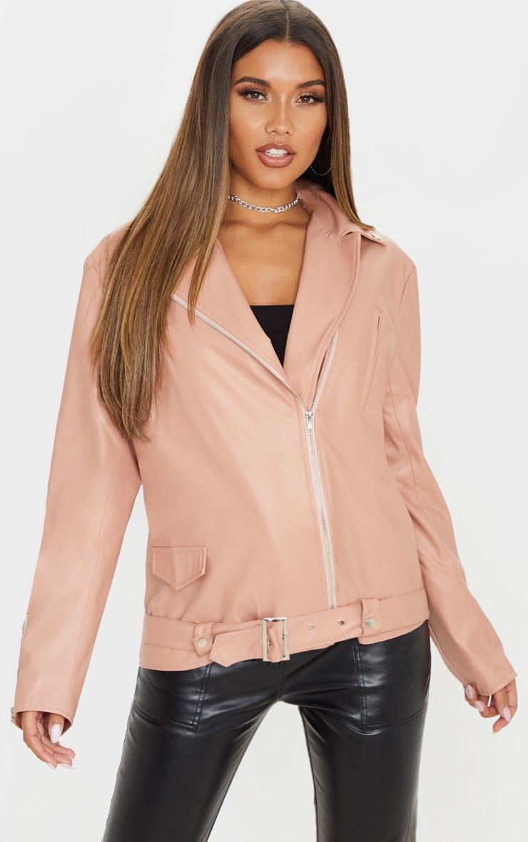 Dusty Pink Faux Leather Biker Jacket 4