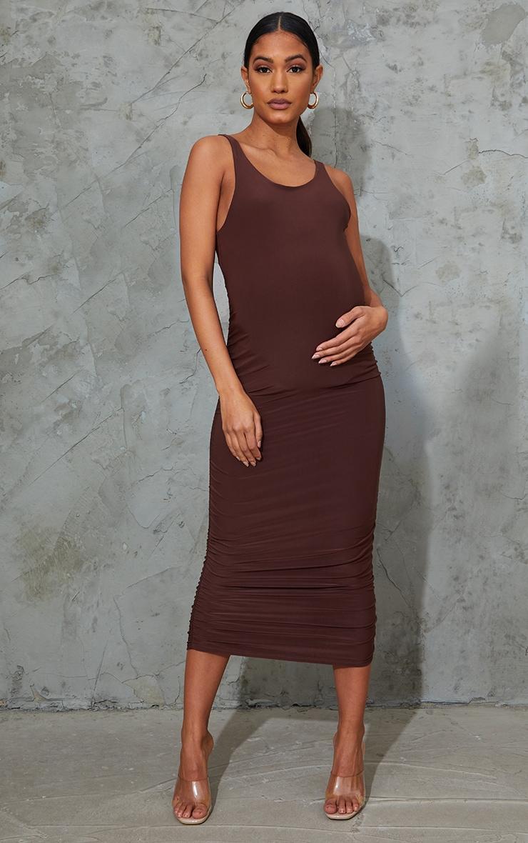 Maternity Chocolate Slinky Ruched Midi Dress 3