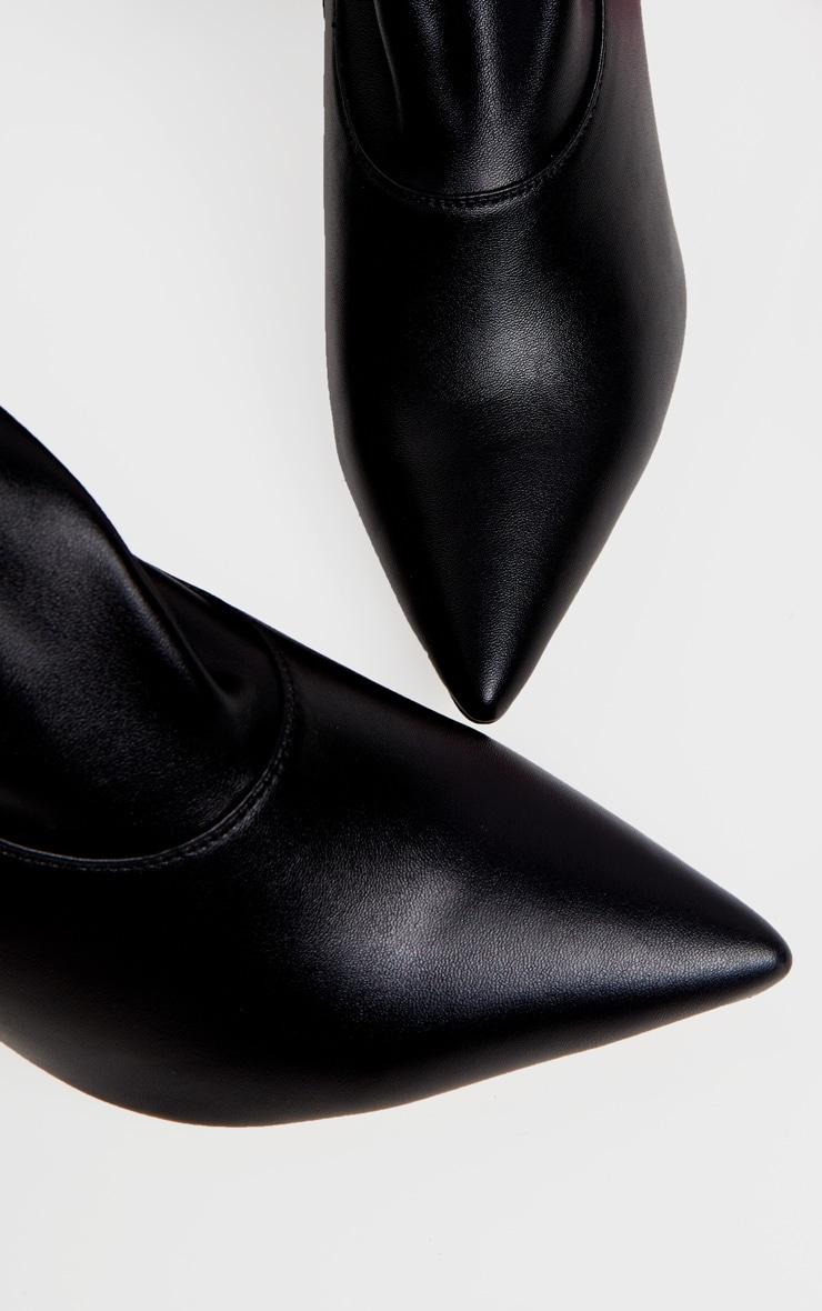 Black Thigh High PU Sock Boot 3