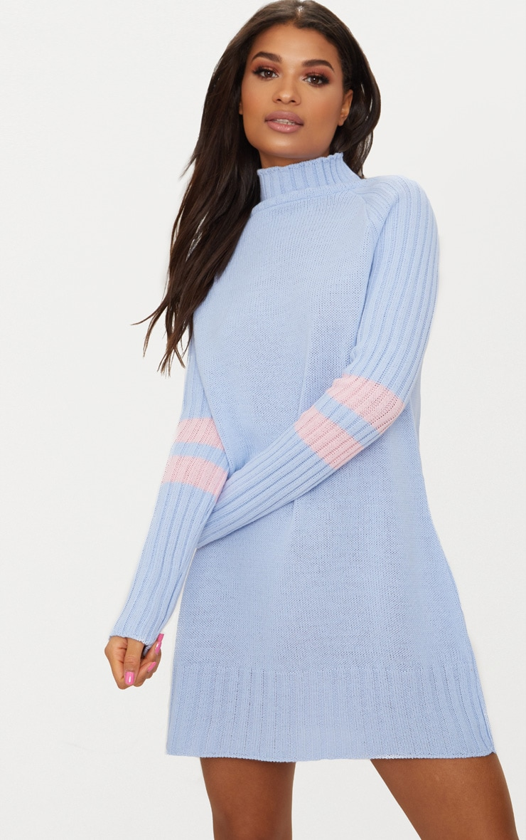 Pale Blue High Neck Sports Stripe Dress 1