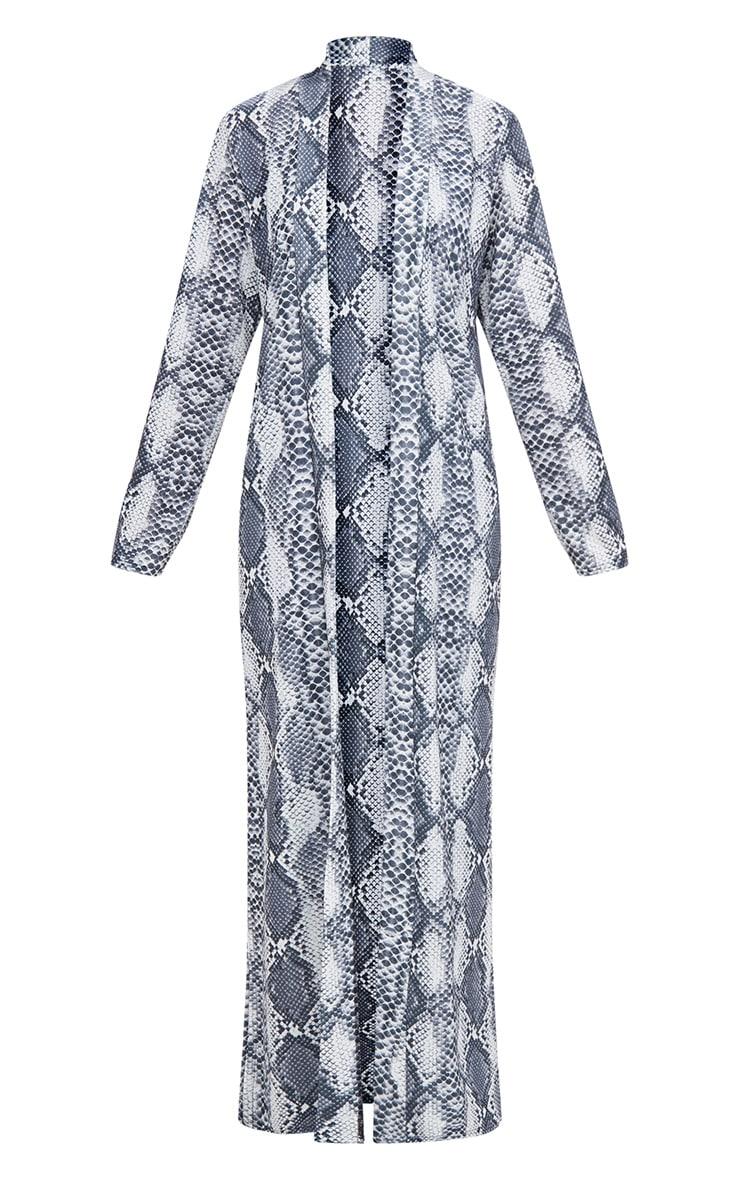 Grey Snake Print Midi Kimono 3