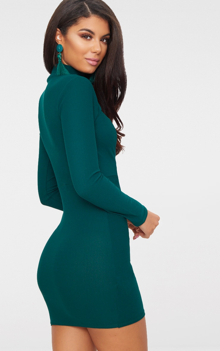 Emerald Green High Neck Cut Out Ruched Detail Bodycon  2