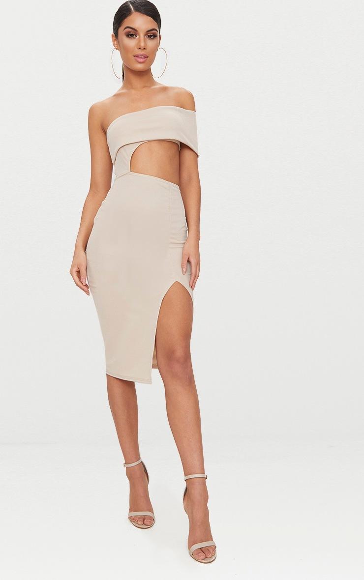 Stone One Shoulder Asymmetric Cut Out Midi Dress 1