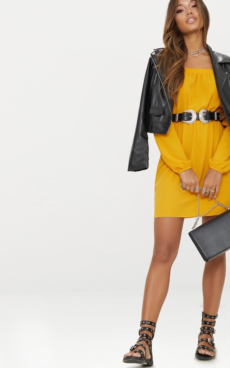 Mustard Bardot Puff Sleeve Skater Dress