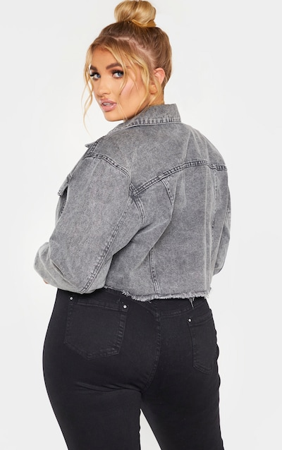 Plus Charcoal Washed Denim Crop Jacket