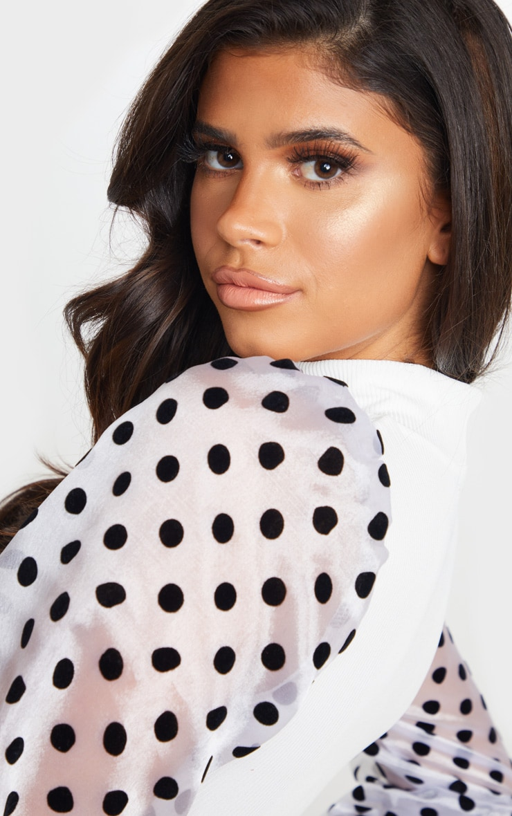 White Rib High Neck Sheer Polka Dot Puff Sleeve Long Top 5