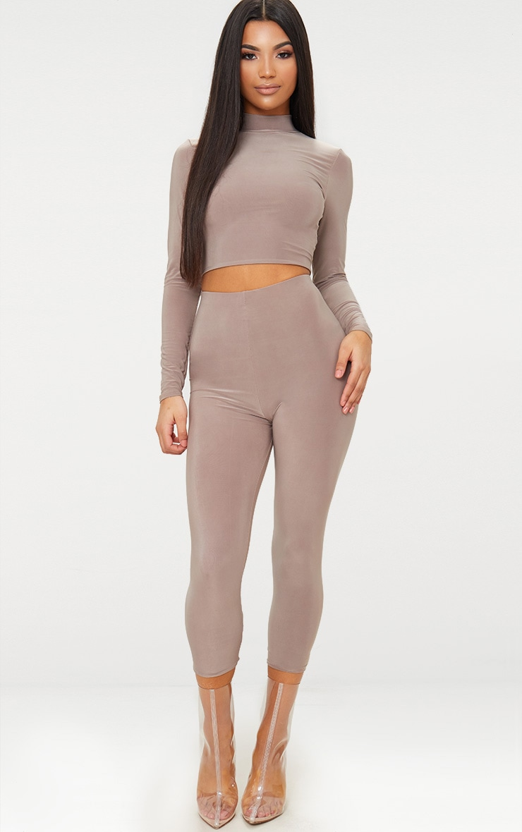 Taupe Slinky Cropped Leggings 1