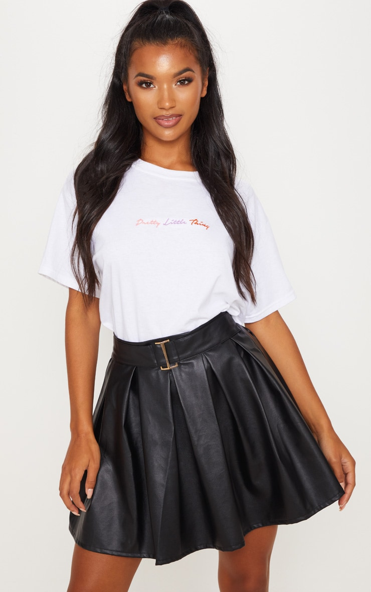 Black Belted Faux Leather Pleated Mini Skirt