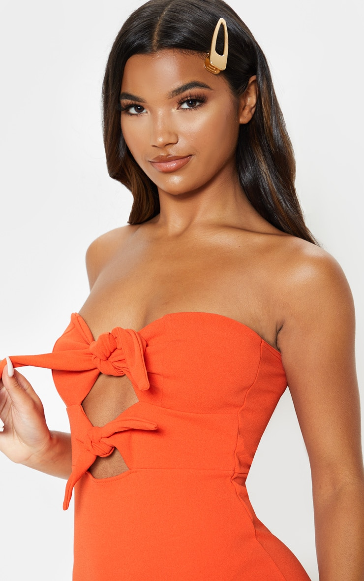 Bright Orange Tie Front Frill Hem Midi Dress 5