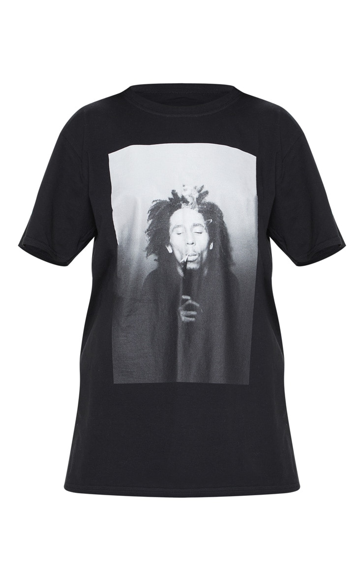 Bob Marley Black Printed Oversized T Shirt 3