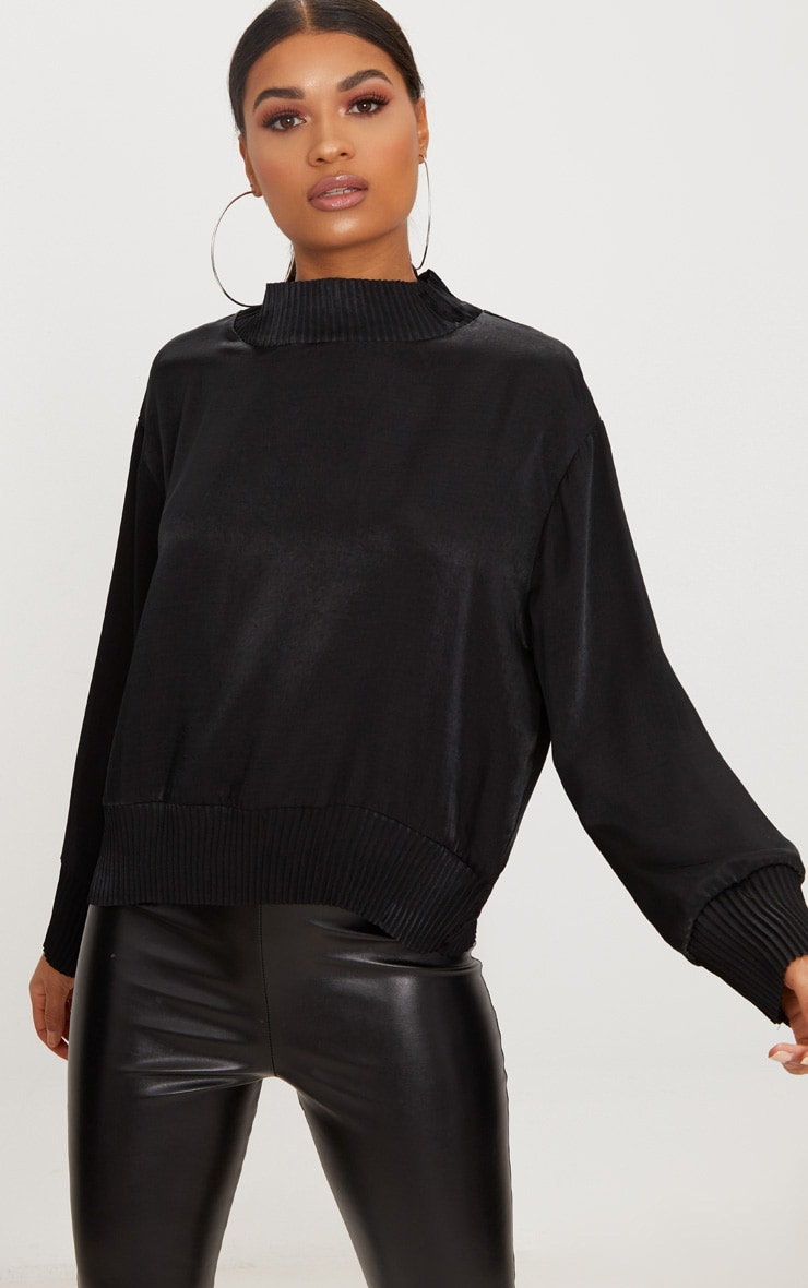 Black Satin Plisse Trim Sweater 1