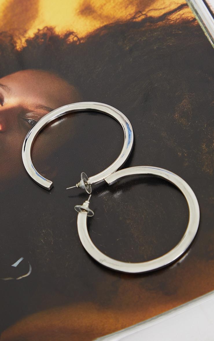 Silver Thick Flat Hoop Earrings 2