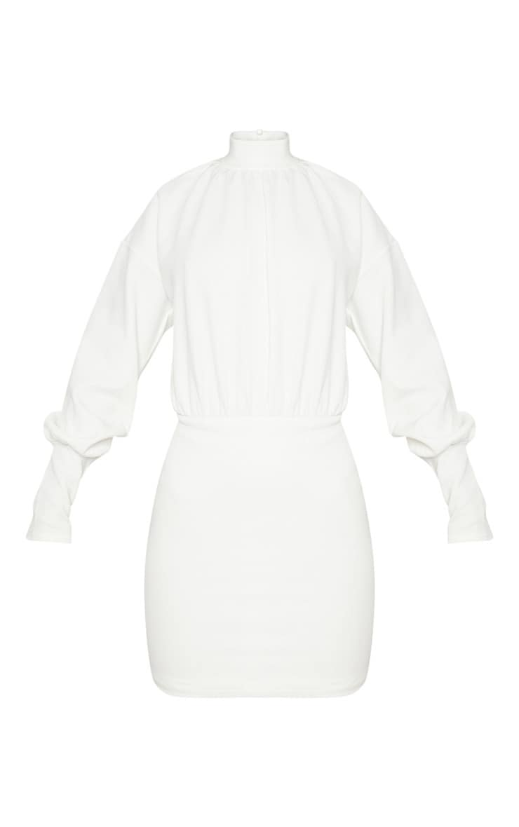 White High Neck Balloon Sleeve Bodycon Dress 3