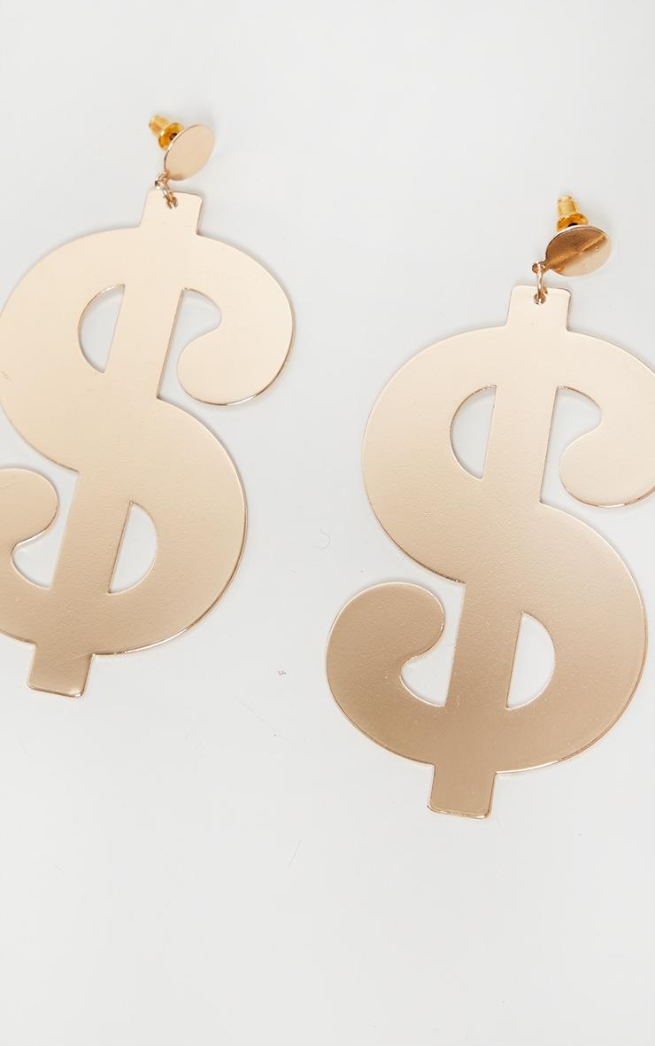 Gold Dollar Sign Earrings 2