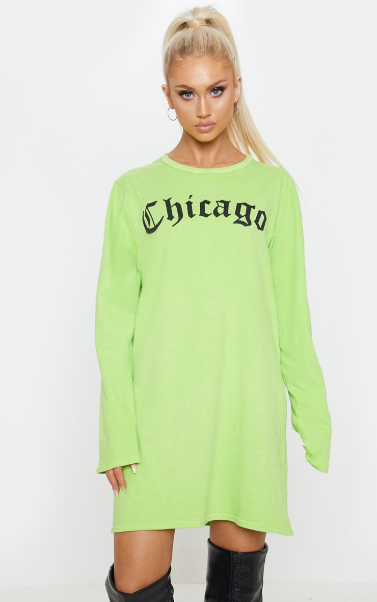 Lime Acid Wash Chicago Slogan Long Sleeve T Shirt Dress 4