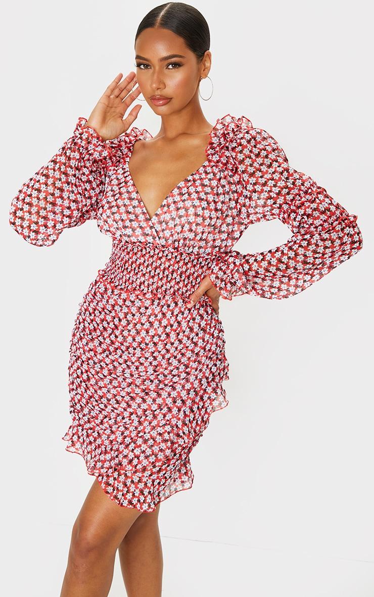 Red Floral Print Frill Detail Shirred Waist Tea Dress 1