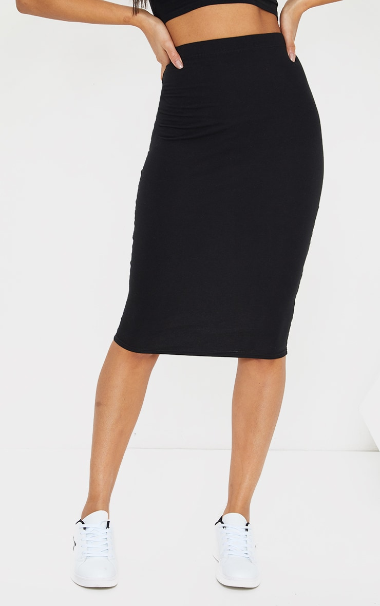 Black Essential Cotton Blend Jersey Midi Skirt 2