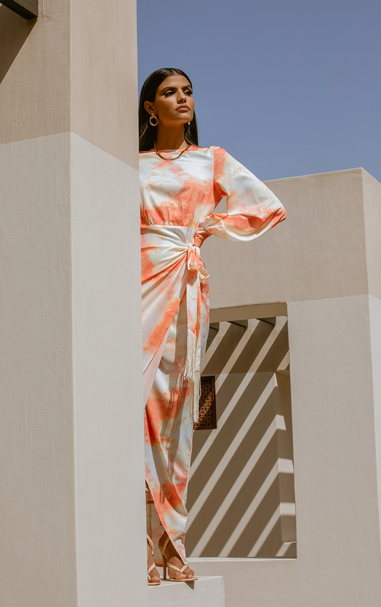 Orange Watercolour Print Tassel Tie Wrap Maxi Dress 3