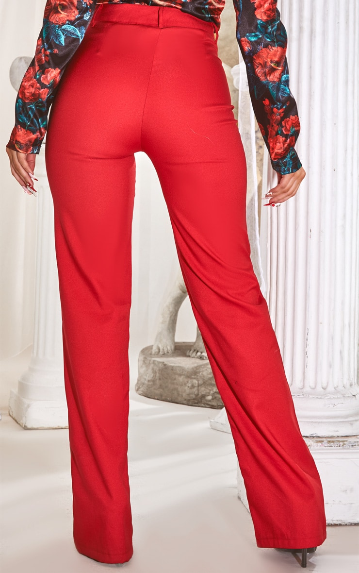 Red High Waisted Straight Leg Pants 3