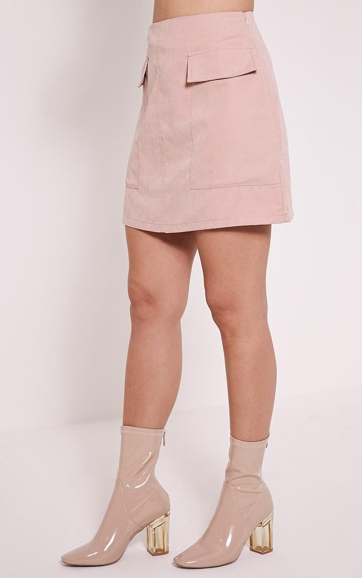 Lottie Blush Faux Suede Pocket Front Mini Skirt 4