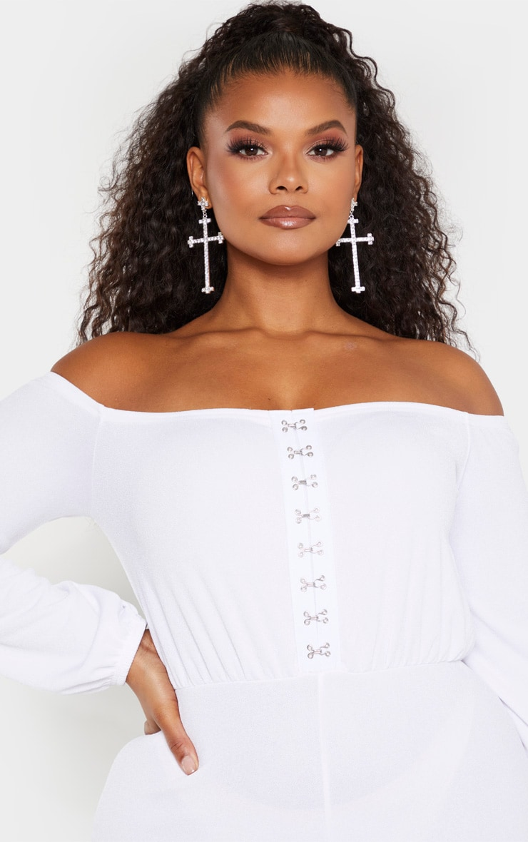 Plus White Eyelet Detail Wide Leg Jumpsuit  5