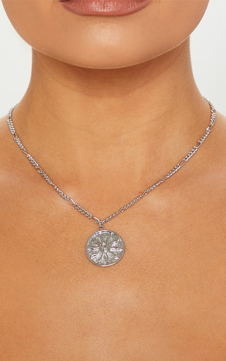 Silver Sun Disc Necklace