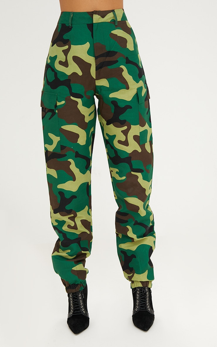 Green Camo Print Cargo Trousers 4