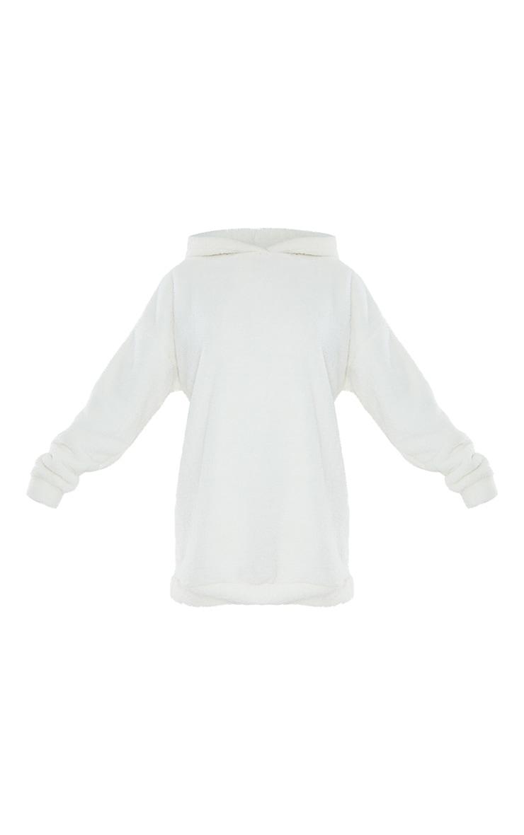 Cream Borg Fleece Hooded Jumper Dress 5