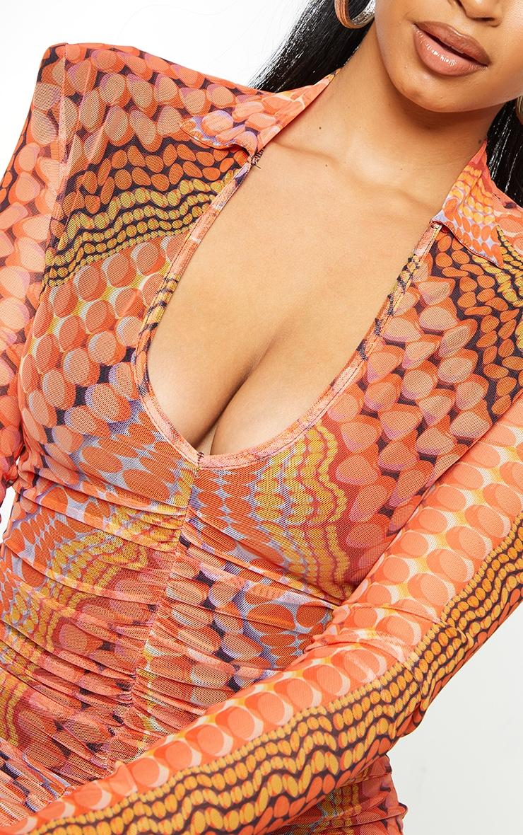 Orange Printed Mesh Shoulder Pad Plunge Ruched Bodycon Dress 4