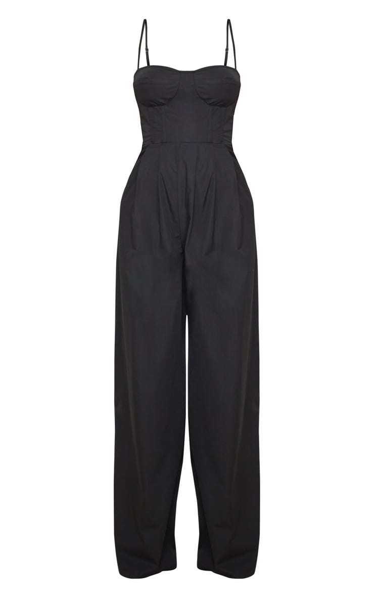 Black Corset Strappy Wide Leg Jumpsuit 4