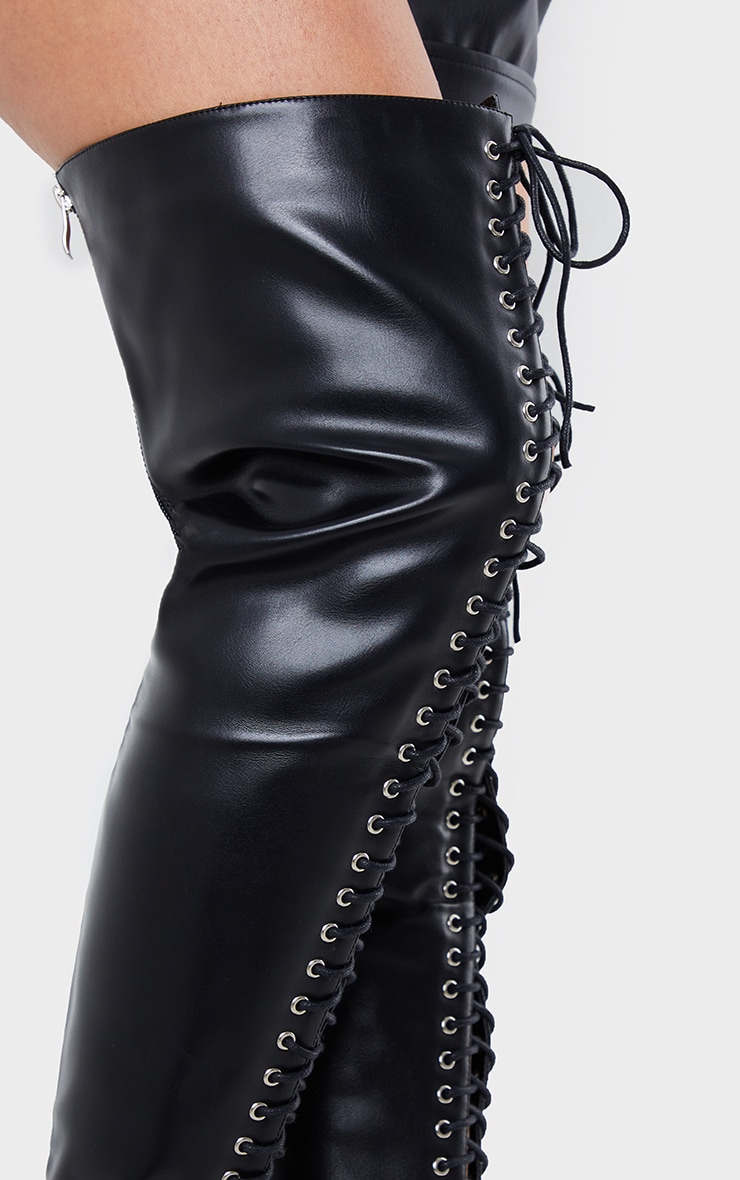 Black PU Extreme Lace Up Thigh High Heeled Boots 4