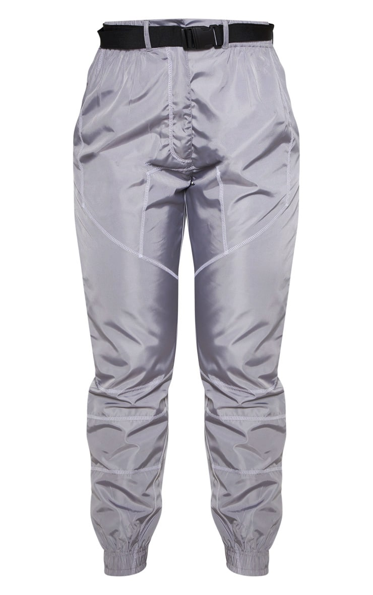 Grey Contrast Stitch Belted Shell Jogger 3