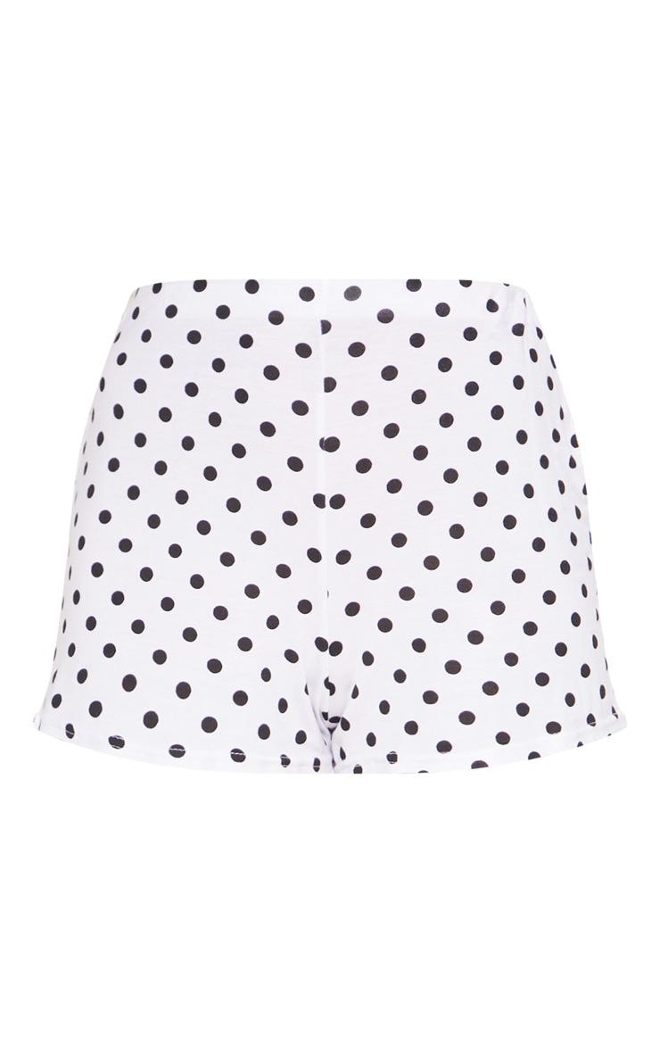 White Polkadot Jersey Shorts 3