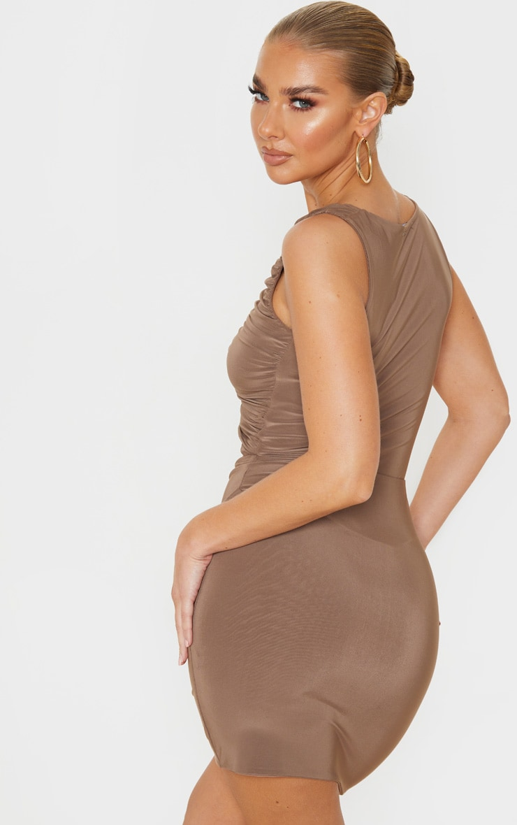 Mocha Slinky Lace Up Bust Detail Ruched Bodycon Dress 2