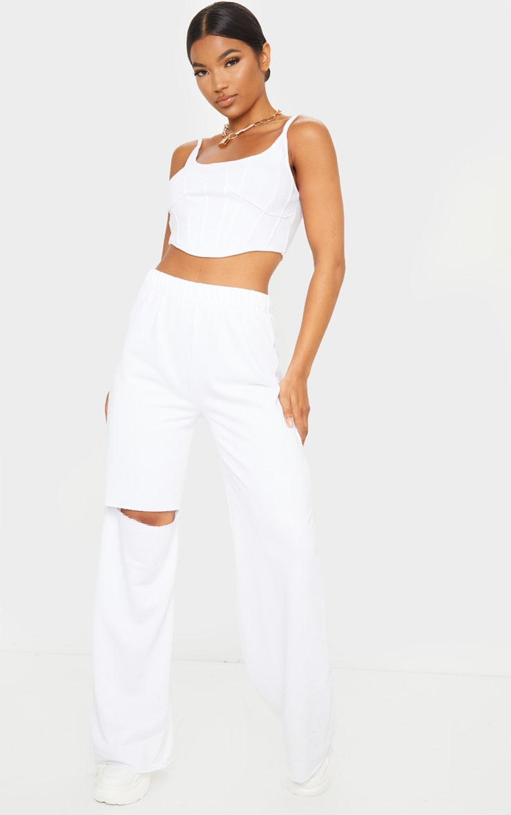 White Ripped Knee Wide Leg Joggers 1