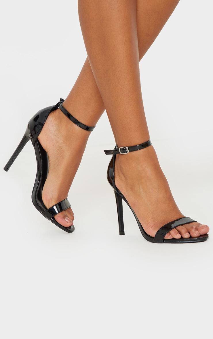 Black Metallic Clover Heeled Sandals 1