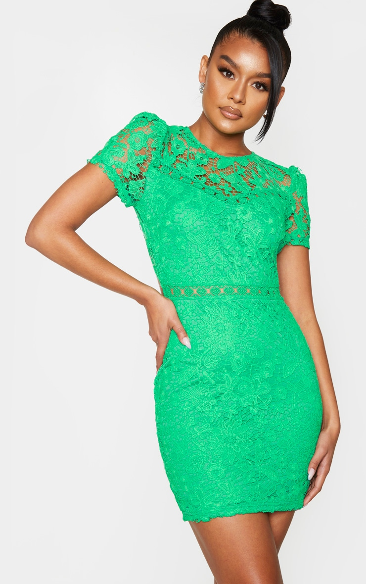Green Lace Backless Cap Sleeve Bodycon Dress 2