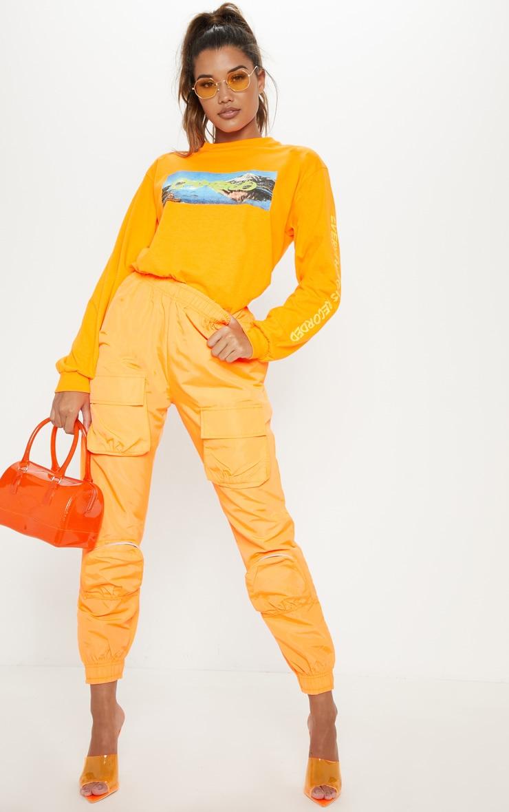 Neon Orange Shell 3D Pocket Detail Jogger