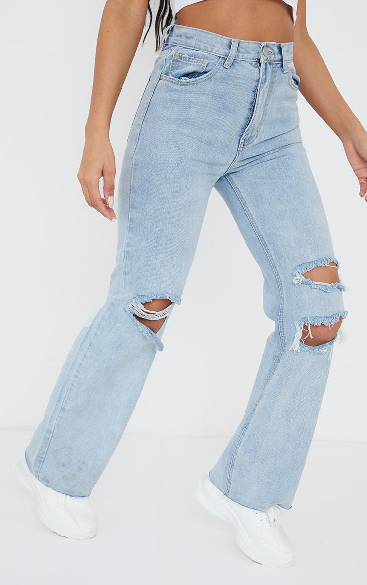 Vintage Wash Distressed Raw Hem Wide Leg Jeans 2