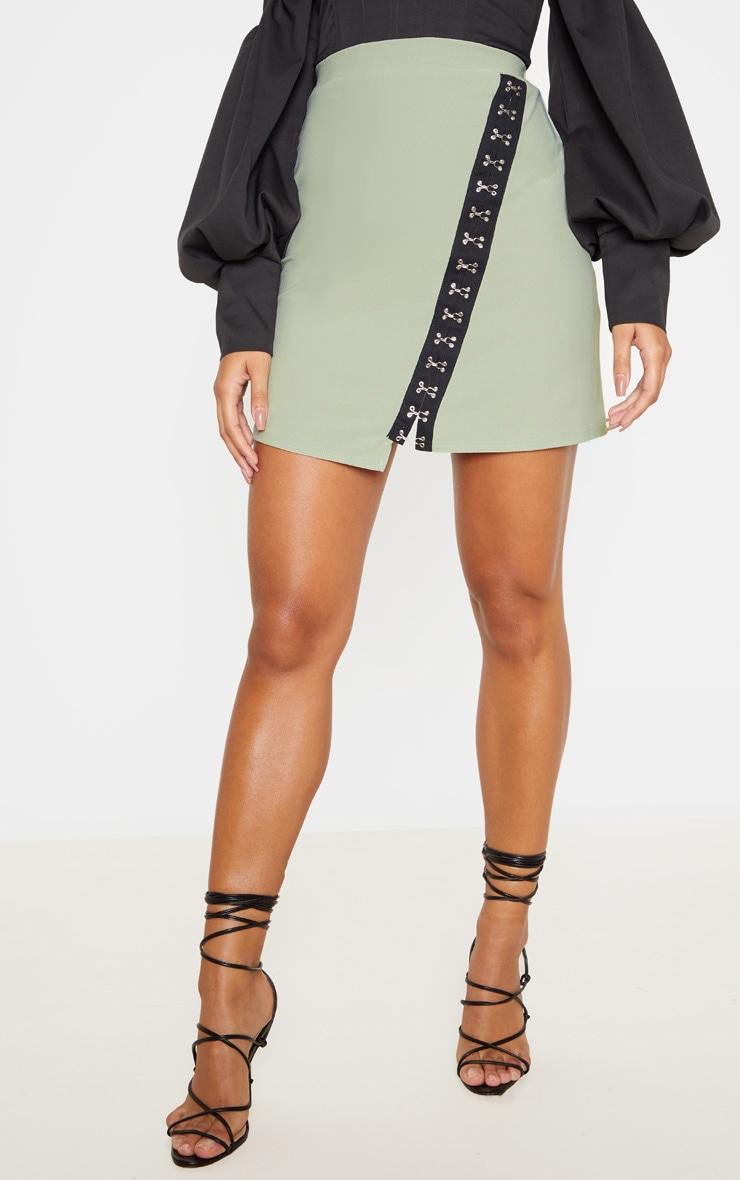 Sage Khaki Hook & Eye Detail Asymmetric Mini Skirt  2