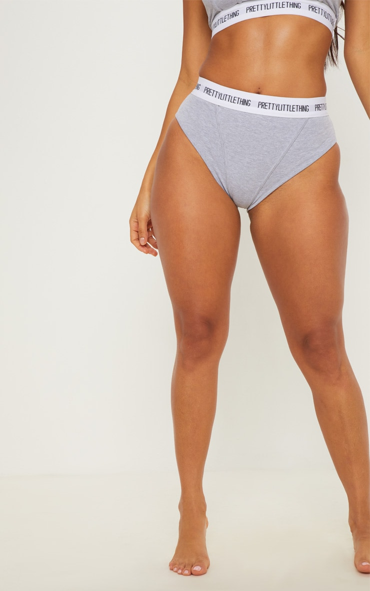 PRETTYLITTLETHING Light Grey Binding Detail Panties 2